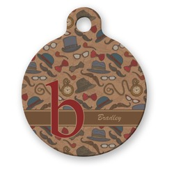 Vintage Hipster Round Pet ID Tag (Personalized)
