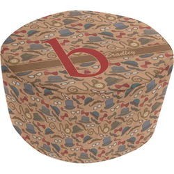 Vintage Hipster Round Pouf Ottoman (Personalized)