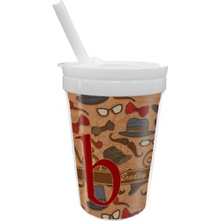 Vintage Hipster Sippy Cup with Straw (Personalized)