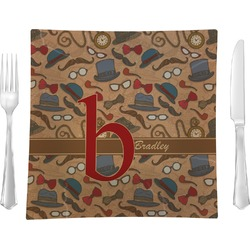 """Vintage Hipster 9.5"""" Glass Square Lunch / Dinner Plate- Single or Set of 4 (Personalized)"""