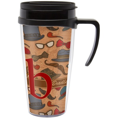 Vintage Hipster Travel Mug with Handle (Personalized)