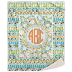 Teal Ribbons & Labels Sherpa Throw Blanket (Personalized)