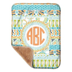 """Teal Ribbons & Labels Sherpa Baby Blanket 30"""" x 40"""" (Personalized)"""