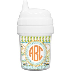 Teal Ribbons & Labels Baby Sippy Cup (Personalized)