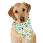 Teal Ribbons & Labels Dog Bandana Scarf w/ Monogram