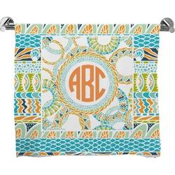 Teal Ribbons & Labels Full Print Bath Towel (Personalized)