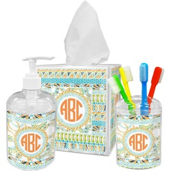 Teal Ribbons & Labels Bathroom Accessories Set (Personalized)