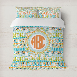 Teal Ribbons & Labels Duvet Cover (Personalized)