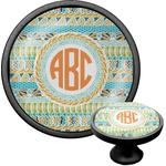 Teal Ribbons & Labels Cabinet Knob (Black) (Personalized)