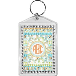 Teal Ribbons & Labels Bling Keychain (Personalized)