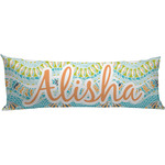 Teal Ribbons & Labels Body Pillow Case (Personalized)