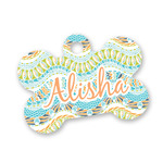 Teal Ribbons & Labels Bone Shaped Dog Tag (Personalized)