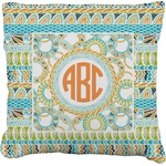 Teal Ribbons & Labels Faux-Linen Throw Pillow (Personalized)