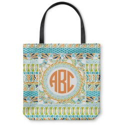 Teal Ribbons & Labels Canvas Tote Bag (Personalized)
