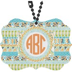 Teal Ribbons & Labels Rear View Mirror Decor (Personalized)