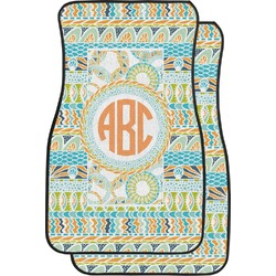 Teal Ribbons & Labels Car Floor Mats (Front Seat) (Personalized)