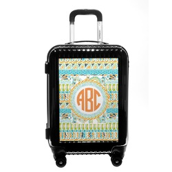 Teal Ribbons & Labels Carry On Hard Shell Suitcase (Personalized)