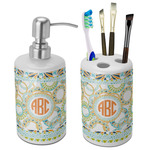 Teal Ribbons & Labels Bathroom Accessories Set (Ceramic) (Personalized)