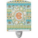 Teal Ribbons & Labels Ceramic Night Light (Personalized)