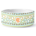 Teal Ribbons & Labels Ceramic Dog Bowl (Personalized)