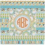 Teal Ribbons & Labels Ceramic Tile Hot Pad (Personalized)