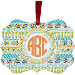 Teal Ribbons & Labels Ornament (Personalized)