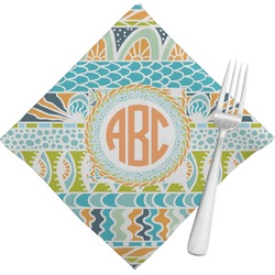 Teal Ribbons & Labels Cloth Napkins (Set of 4) (Personalized)