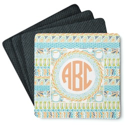 Teal Ribbons & Labels 4 Square Coasters - Rubber Backed (Personalized)