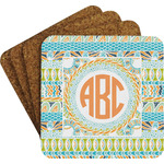 Teal Ribbons & Labels Cork Coaster - Set of 4 w/ Monogram