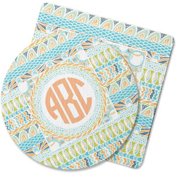 Teal Ribbons & Labels Rubber Backed Coaster (Personalized)
