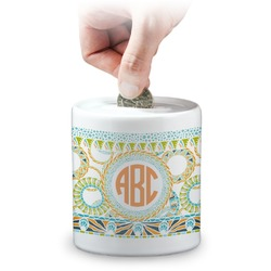 Teal Ribbons & Labels Coin Bank (Personalized)