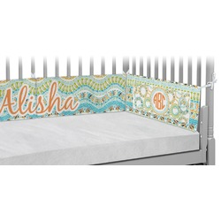 Teal Ribbons & Labels Crib Bumper Pads (Personalized)