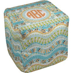 Teal Ribbons & Labels Cube Pouf Ottoman (Personalized)