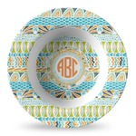 Teal Ribbons & Labels Plastic Bowl - Microwave Safe - Composite Polymer (Personalized)