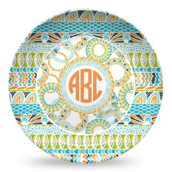 Teal Ribbons & Labels Microwave Safe Plastic Plate - Composite Polymer (Personalized)