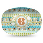Teal Ribbons & Labels Plastic Platter - Microwave & Oven Safe Composite Polymer (Personalized)