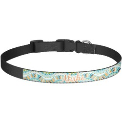 Teal Ribbons & Labels Dog Collar - Large (Personalized)