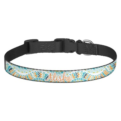 Teal Ribbons & Labels Dog Collar (Personalized)
