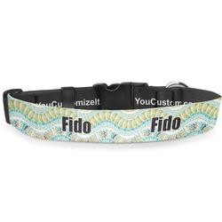 Teal Ribbons & Labels Deluxe Dog Collar (Personalized)