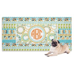 Teal Ribbons & Labels Dog Towel (Personalized)