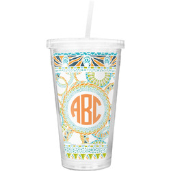 Teal Ribbons & Labels Double Wall Tumbler with Straw (Personalized)