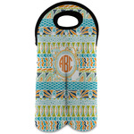 Teal Ribbons & Labels Wine Tote Bag (2 Bottles) (Personalized)