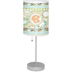 """Teal Ribbons & Labels 7"""" Drum Lamp with Shade Linen (Personalized)"""