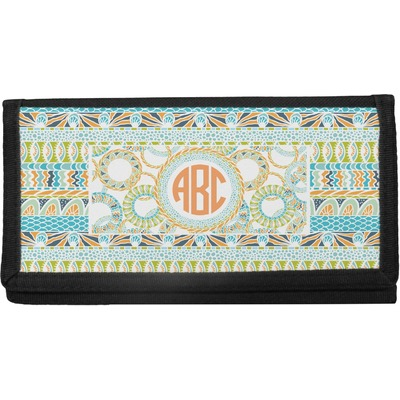 Teal Ribbons & Labels Canvas Checkbook Cover (Personalized)