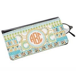 Teal Ribbons & Labels Genuine Leather Eyeglass Case (Personalized)