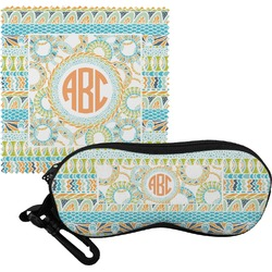 Teal Ribbons & Labels Eyeglass Case & Cloth (Personalized)