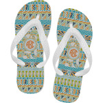 Teal Ribbons & Labels Flip Flops (Personalized)