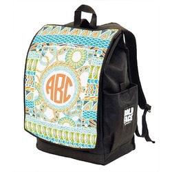 Teal Ribbons & Labels Backpack w/ Front Flap  (Personalized)