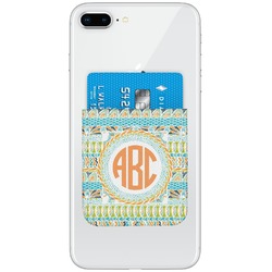 Teal Ribbons & Labels Genuine Leather Adhesive Phone Wallet (Personalized)