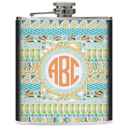 Teal Ribbons & Labels Genuine Leather Flask (Personalized)